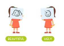 Free Beautiful And Ugly Antonyms Word Card Vector Template. Stock Image - 192263431