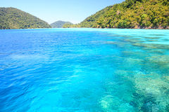 Beautiful andaman sea. Snorkeling point with beautiful coralscape at Surin national park Phuket Thailand Royalty Free Stock Photos