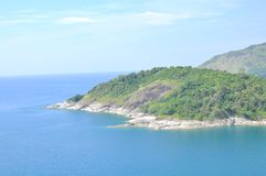 Helicopter view of Phromthep cape at Phuket, Thailand. The beautiful Andaman Sea view from Cape Phromthep in Phuket Thailand Royalty Free Stock Images