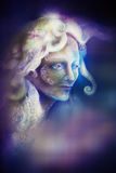 Beautiful angel fairy spirit in rays of purple light, illustration Royalty Free Stock Photos