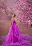 Girl in pink dress in blooming gardens. Beautiful angel in the flower garden stock image