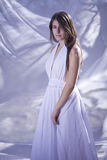 Beautiful angel girl. Beautiful girl like an angel with white dress royalty free stock photography