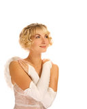 Beautiful angel girl. Over white background Stock Images