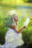 Beautiful Angel Girl In Forest Stock Image