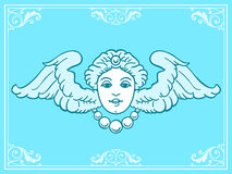 Beautiful angel head with wings Royalty Free Stock Photo