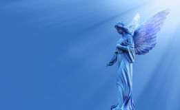 Beautiful angel in heaven panoramic view Stock Images