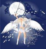 Beautiful angel with magic sword. Vector illustration Stock Image