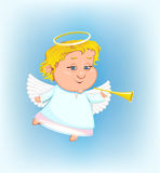 Beautiful angel with a pipe Royalty Free Stock Images