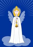 Beautiful angel with pipe standing on a cloud, symbol of christian  religion and christmas. Royalty Free Stock Photo