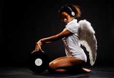 Beautiful angel with vinyl Royalty Free Stock Photography