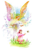 Beautiful Angel with Wings Flying over Child, Watercolor Illustration. Stock Photo