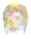 Beautiful Angel with Wings Flying over Child, Watercolor Illustration. Royalty Free Stock Photography