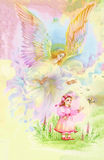 Beautiful Angel with Wings Flying over Child, Watercolor Illustration. Royalty Free Stock Photos