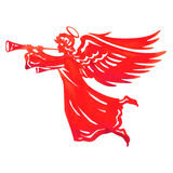 Beautiful angel with wings and trumpet Stock Image