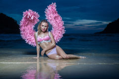 Beautiful angel woman with pink wings Stock Photos