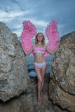 Beautiful angel woman with pink wings Royalty Free Stock Photo