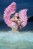 Beautiful angel woman with pink wings Royalty Free Stock Image