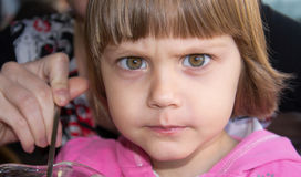 Beautiful Angry Little Young Girl Stock Images