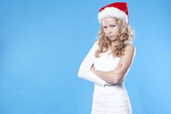 Beautiful angry Santa girl Stock Photos
