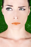Beautiful angry woman with glossy lips Royalty Free Stock Photography