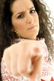 Beautiful angy woman  pointing towards Stock Images