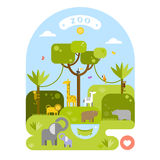Beautiful animals in the zoo. Vector flat illustration. Royalty Free Stock Images