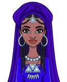 Beautiful animation African princess in ancient clothes and a turban. Royalty Free Stock Images