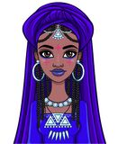 Beautiful animation African princess in ancient clothes and a turban. The vector illustration isolated on a white background Stock Photos