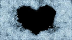 Beautiful Animation of Freezing Window forming Heart Shape. Alpha Mask. Freezing and Defrosting. Ultra HD 3840x2160