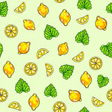Beautiful animation lemon fruits and mint on green background. Lemon drawing. Seamless pattern Stock Photography