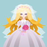 Beautiful anime bride Royalty Free Stock Image
