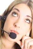 Beautiful annoyed operator Royalty Free Stock Image