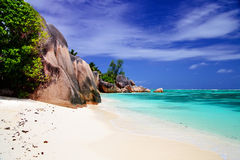 Beautiful Anse Source d'Argent. Beautiful rocks at Anse Source d'Argent, Seychelles Stock Photos