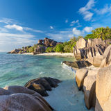 Beautiful Anse Source d`Argent tropical beach, La Digue island, Seychelles. Royalty Free Stock Photo