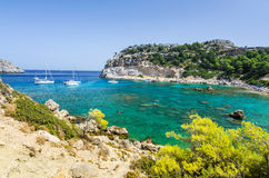 Beautiful Anthony Quinn sea bay in September Stock Images