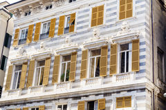 Beautiful antique   building  on Piazza Caricamento in Italy Royalty Free Stock Images