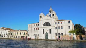 Beautiful antique hotel with cupola in Venice, view on building from boat. Stock footage stock video footage