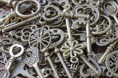 Beautiful Antique Keys in a Pile.  Royalty Free Stock Photography