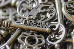 Beautiful Antique Keys with the word Dream Close Up.  Stock Image