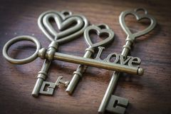 Beautiful Antique Keys with the word Love. Close Up Stock Photo