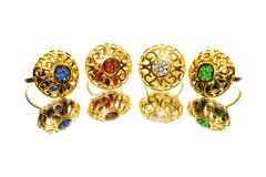 Beautiful antique Oriental Turkish gold jewelry women ring Royalty Free Stock Images