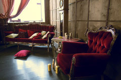 Beautiful Antique Room With Red Armchairs Royalty Free Stock Photography