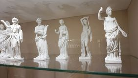 Beautiful antique statues in the Imperial Silver Collection.  stock photo