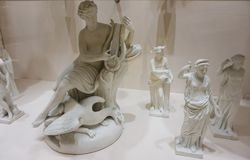 Beautiful antique statues in the Imperial Silver Collection.  stock photos