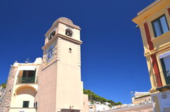 Beautiful antique tower clock on Capri island, Italy Stock Image