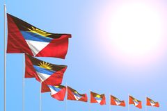 Beautiful any feast flag 3d illustration - many Antigua and Barbuda flags placed diagonal on blue sky with place for text. Wonderful many Antigua and Barbuda vector illustration
