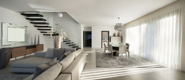 Beautiful apartment, interior. Interior of a modern apartment, comfortable living room Stock Photo