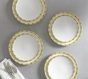 Beautiful appearance of hand-painted four plates - white background stock photo