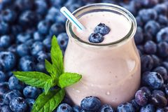 Beautiful appetizer blueberry fruit smoothie milk shake glass jar with juicy fresh berries background top view Yogurt cocktail Nat. Beautiful appetizer blueberry Royalty Free Stock Image