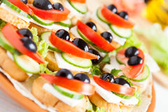 Beautiful appetizer with crackers and cheese Royalty Free Stock Photos